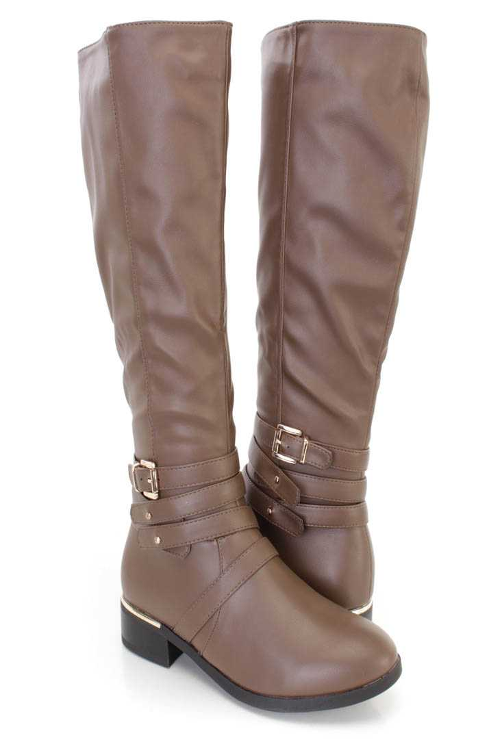 Taupe Strappy Ridding Boots Faux Leather