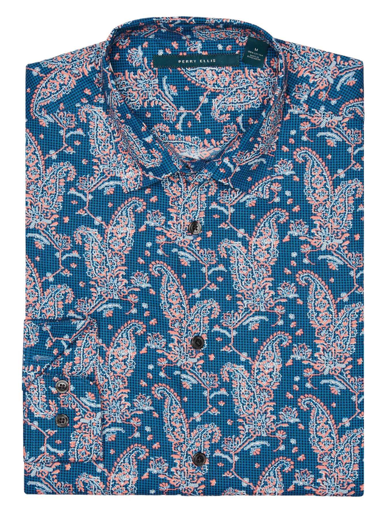 Perry Ellis Multicolor Large Paisley Shirt