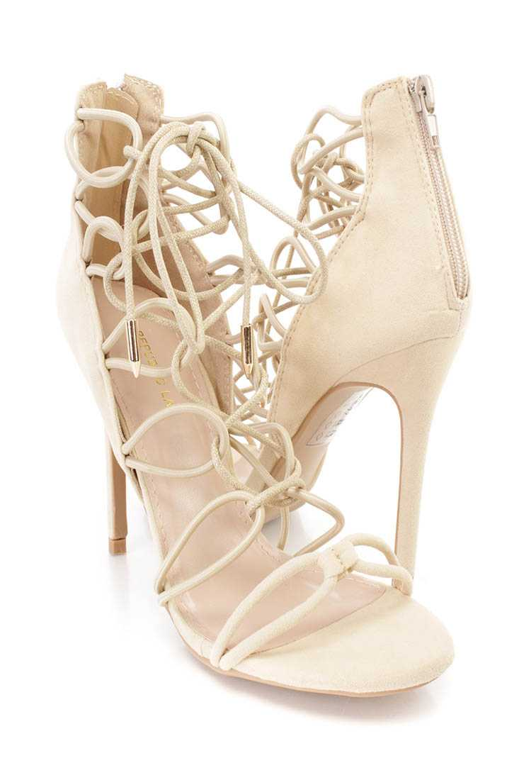Nude String Lace Up Single Sole High Heels Faux Suede