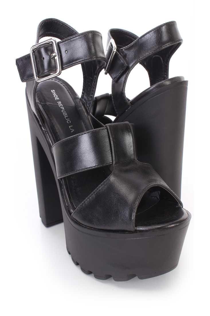 Black Strappy Peep Toe Chunky Platform High Heels Faux Leather