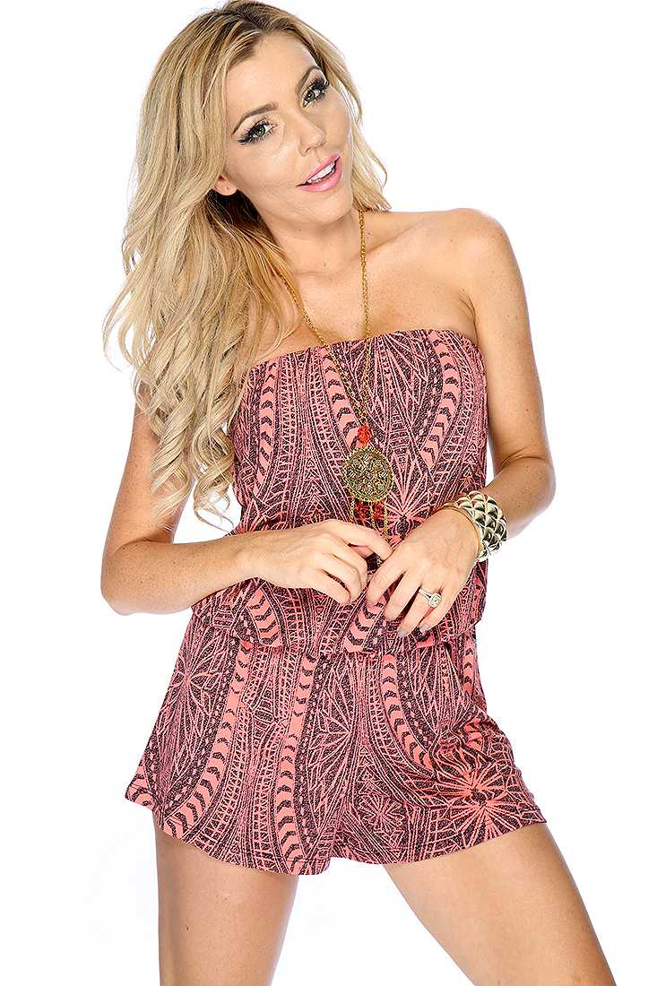 Coral Black Printed Design Strapless Romper Outfit