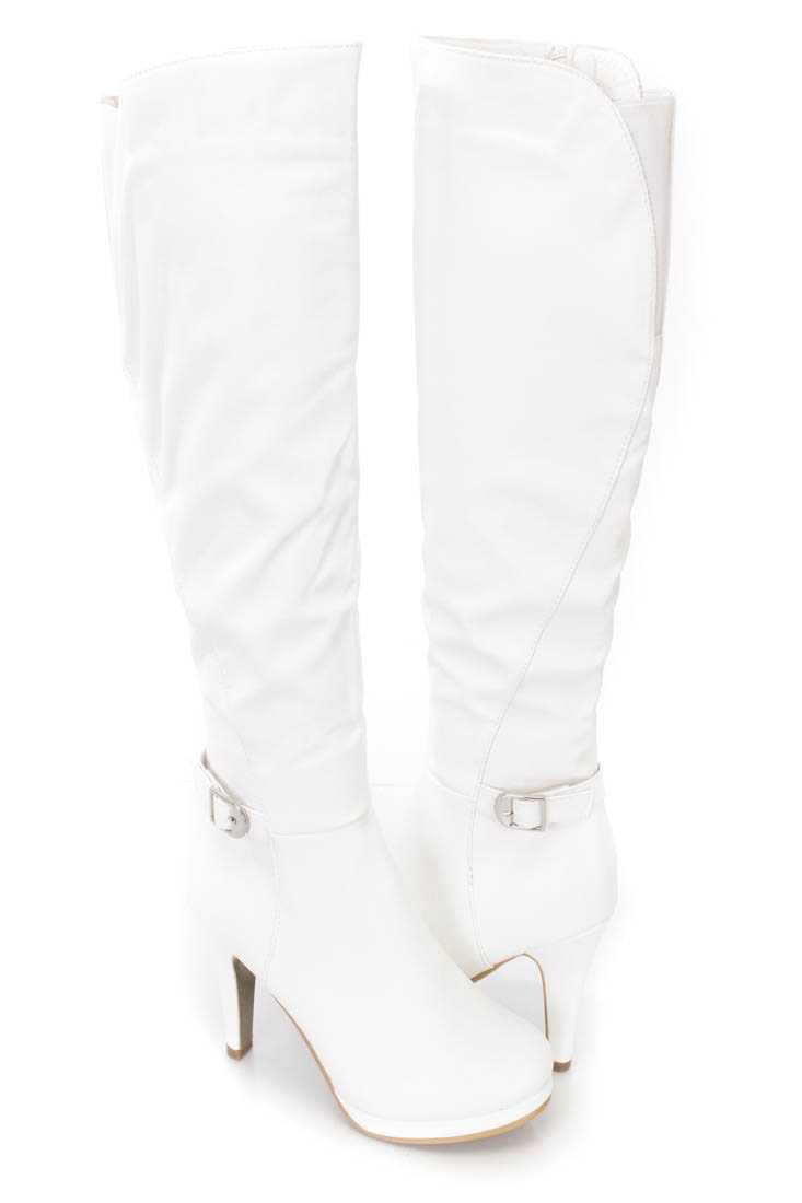 White Strappy High Heel Boots Faux Leather