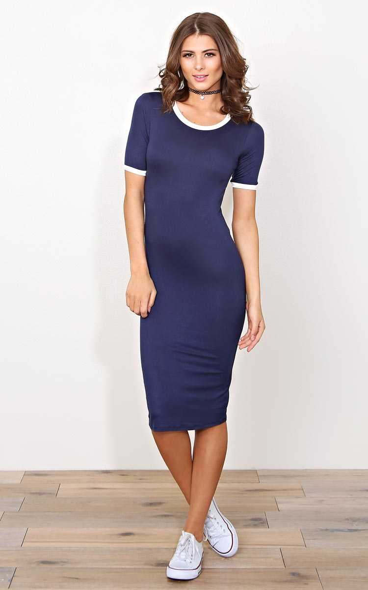 Navy Dylann Knit T Shirt Dress - SML - Navy Combo in Size Small by Styles For Less