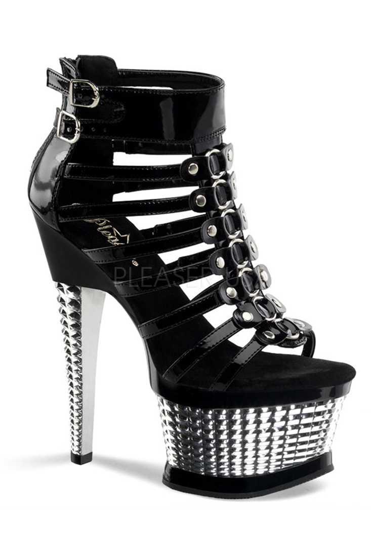 Black Silver Chrome Open Toe Sandal Sandal Heels Patent