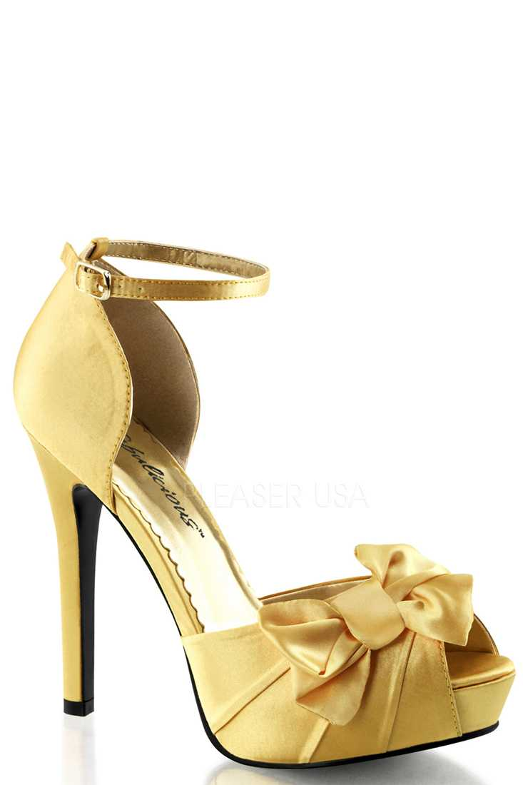 Yellow Bow Accent Peep Toe High Heels Satin