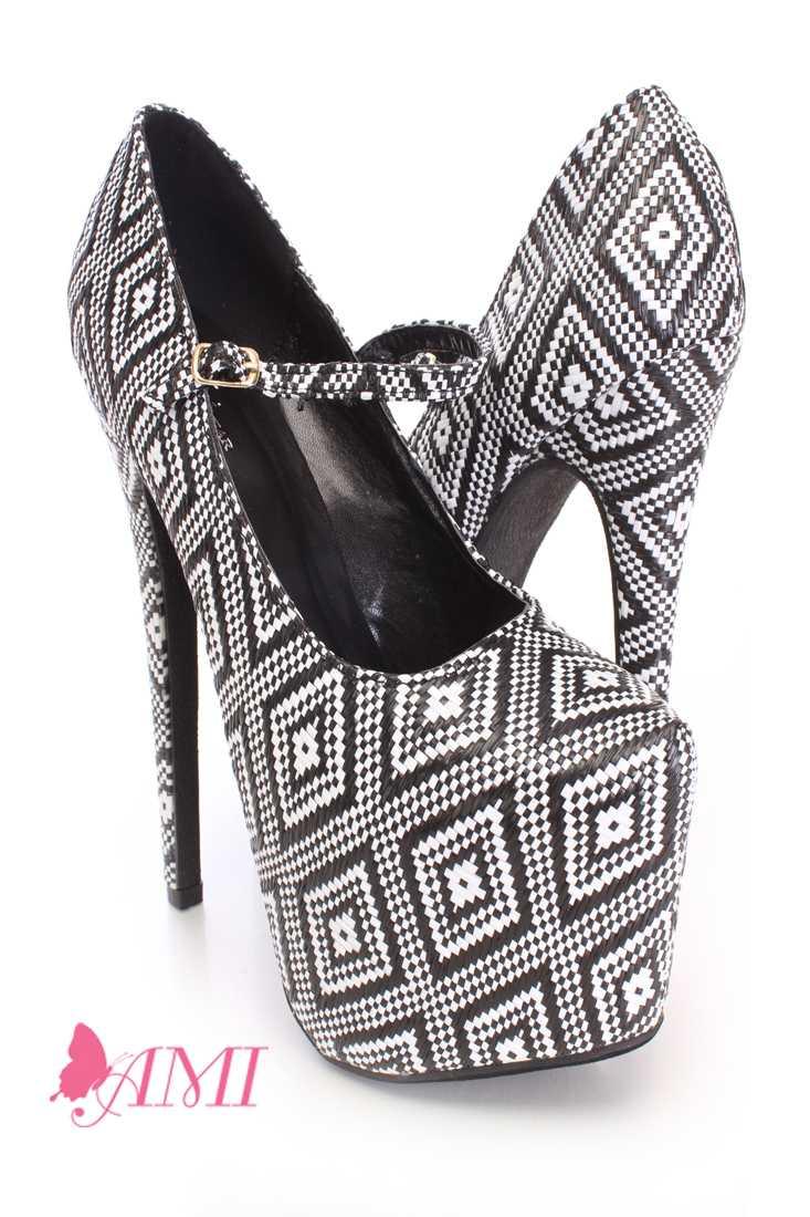 Geometric Pattern Maryjane High Heels Straw