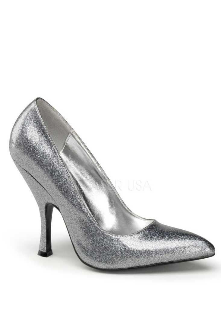 Silver Pearlized Glitter Single Sole Pump High Heels Patent