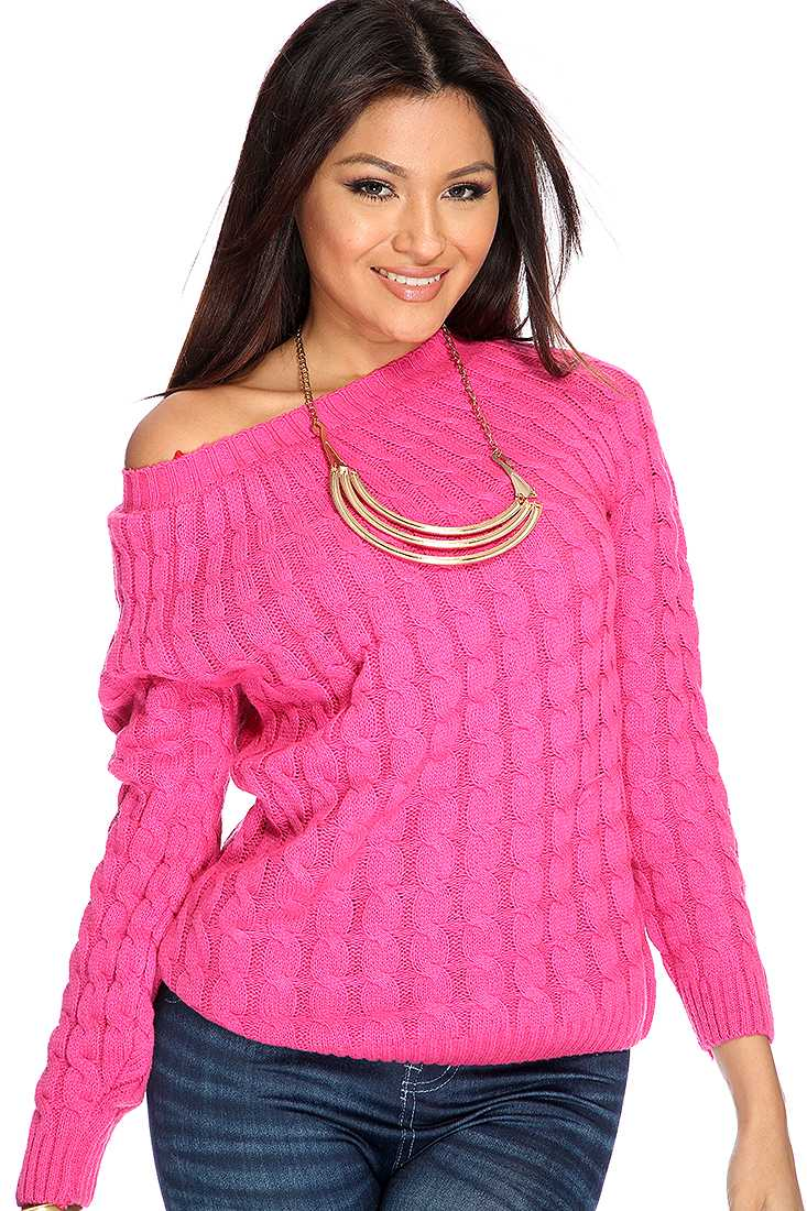 Fuchsia Cable Knitted Sweater