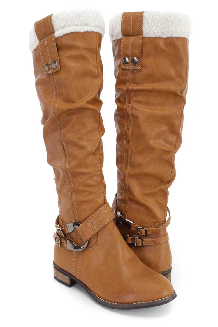 Camel Faux Shearing Cuff Slouchy Boots Faux Leather