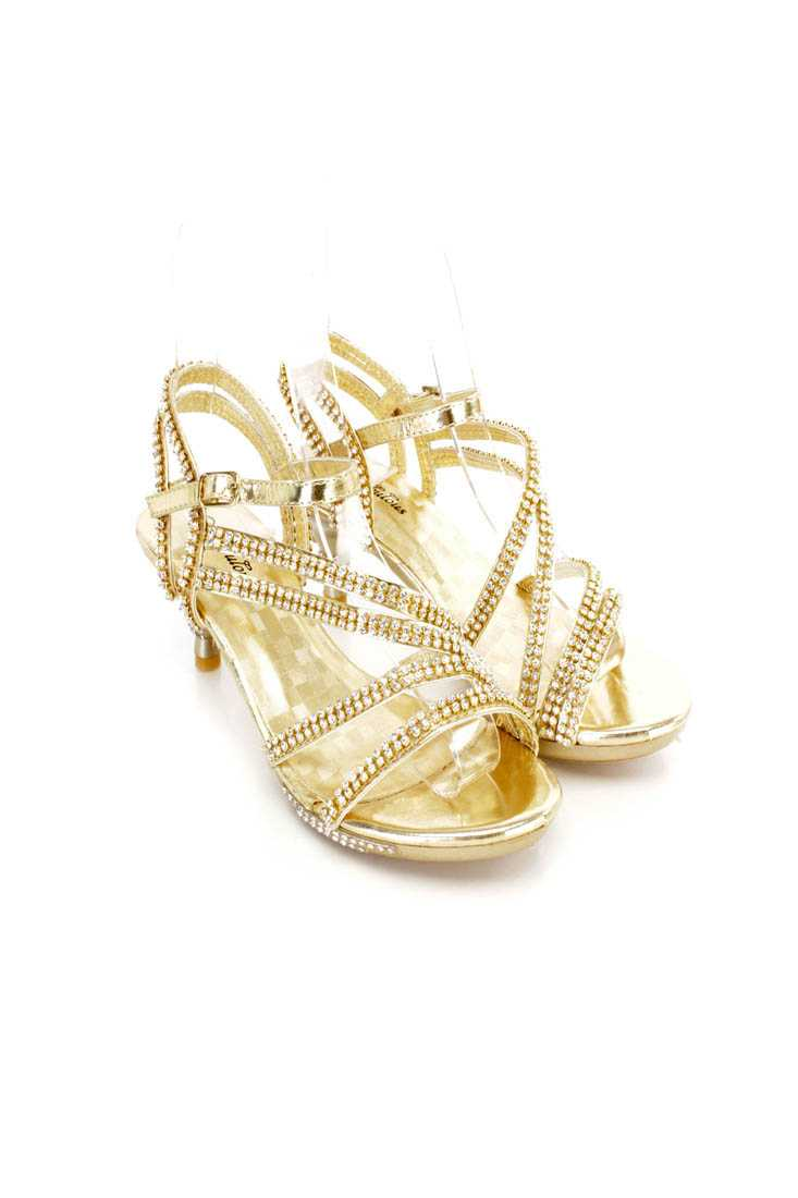 Gold Rhinestone Decor Strappy Kiddie Heels Faux Leather