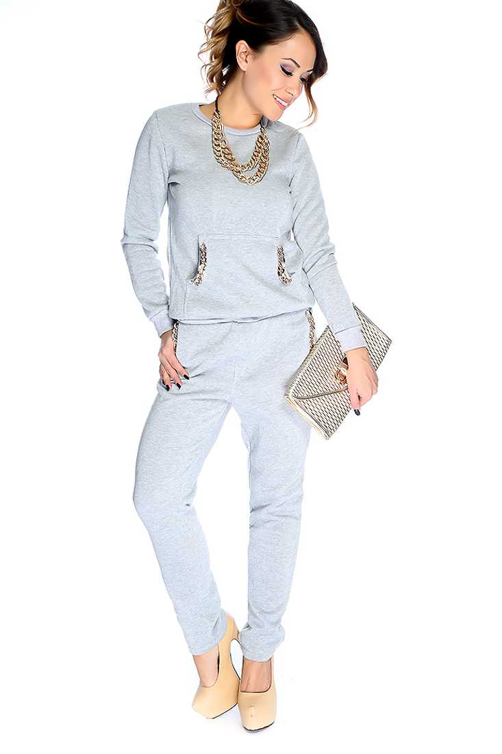 Grey Long Sleeves Metal Chain Detail 2 Pieces Outfit