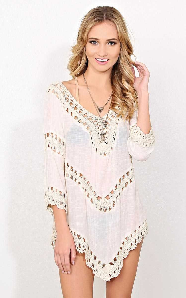 Jenna Crochet Woven Tunic - Ivry/Natrl in Size S/M by Styles For Less