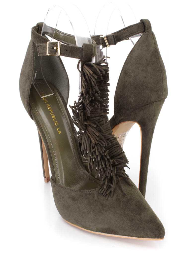 Olive Fringe T-strap Single Sole Heels Faux Suede