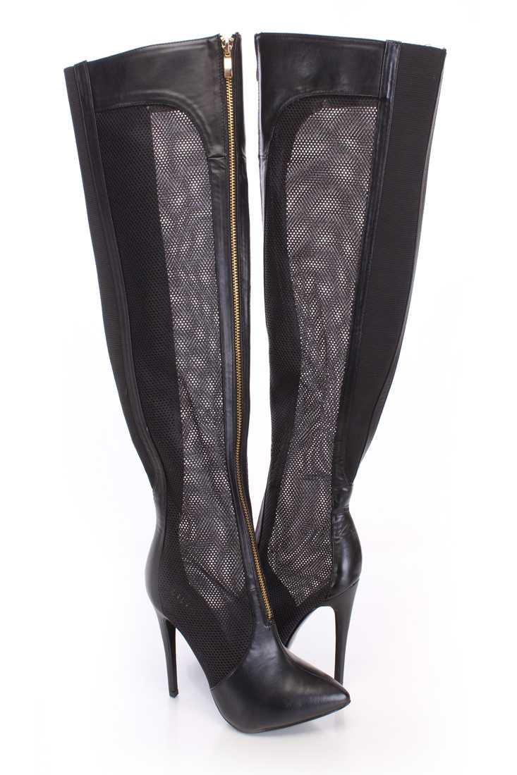 Black Thigh High Netted Boots Faux Leather