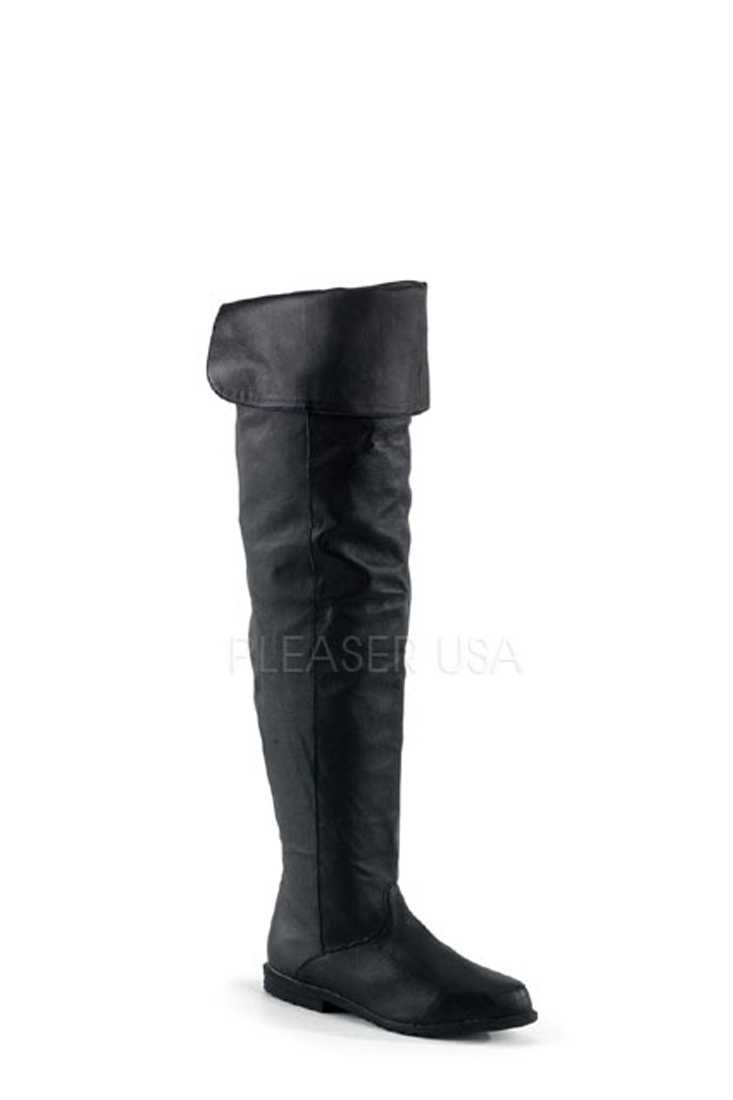 Black Cuffed Thigh High Boots Leather