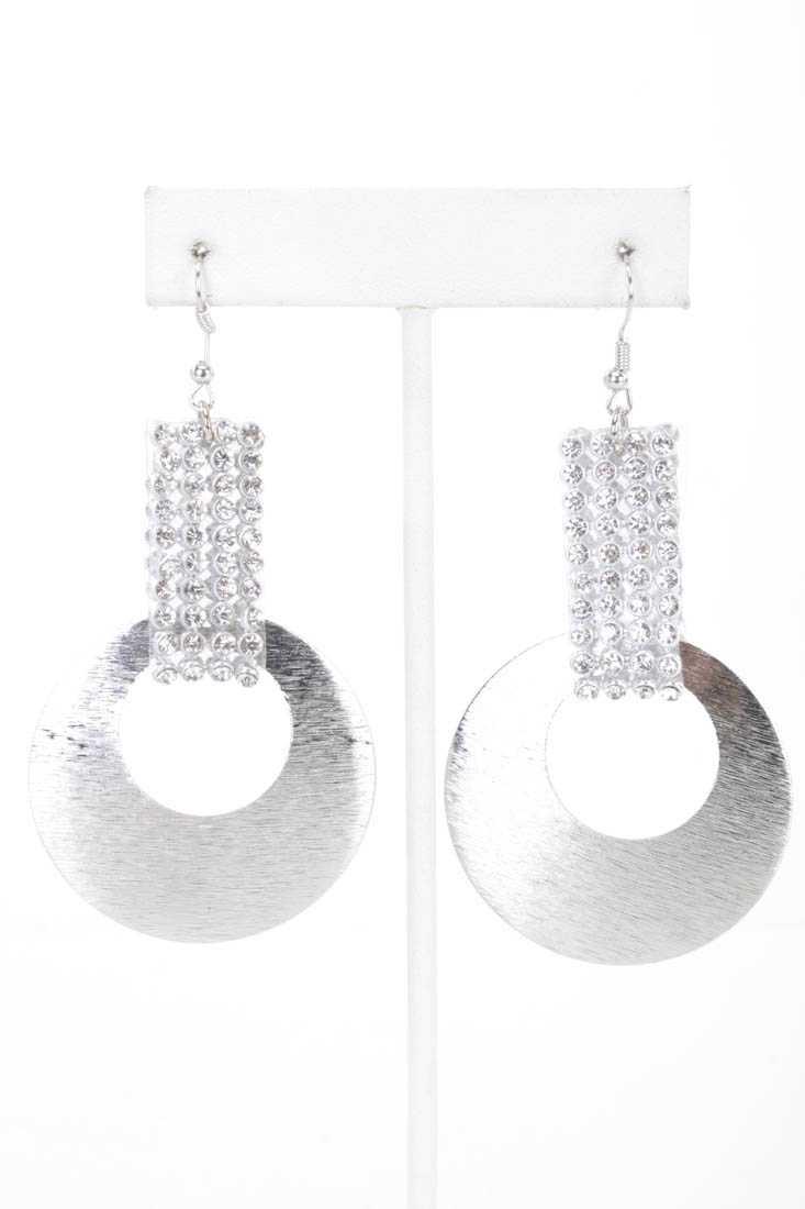 Silver High Polish Rhinestone Earrings