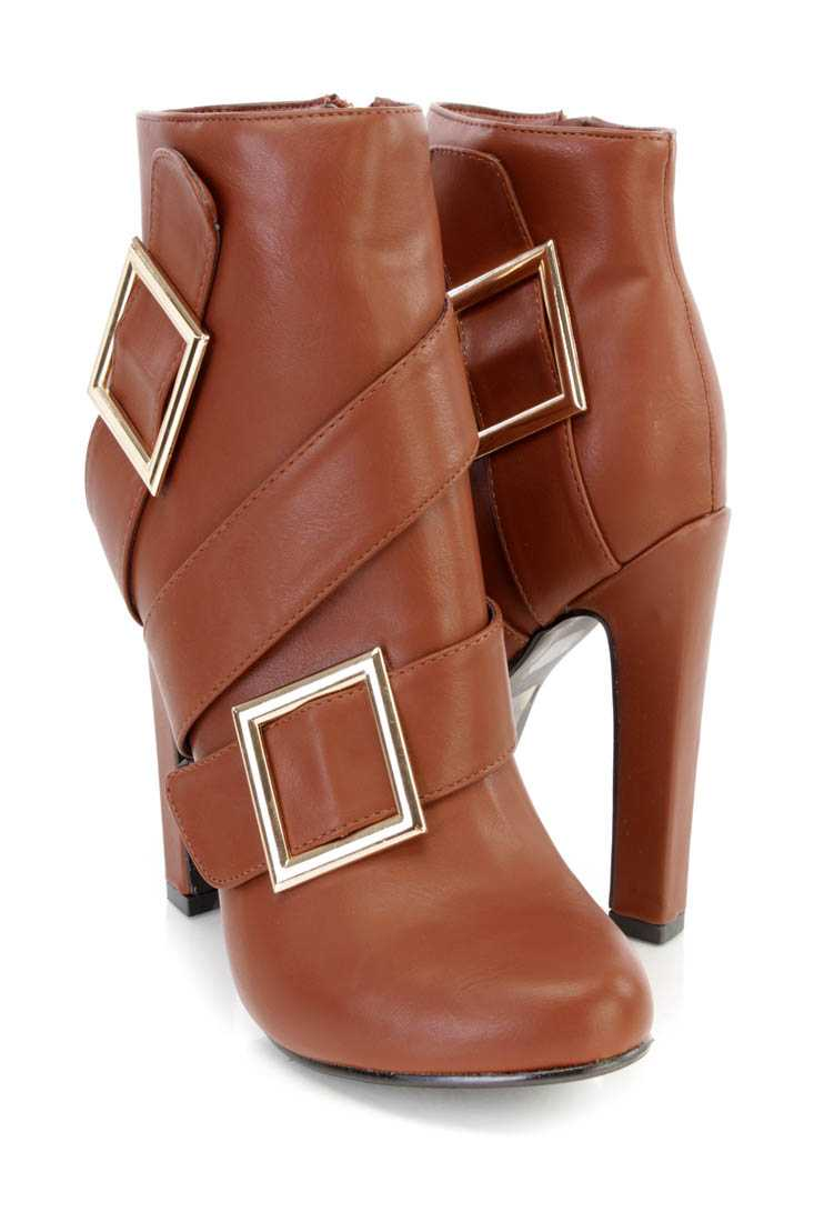 Brown Buckled Strappy High Heel Ankle Booties Faux Leather