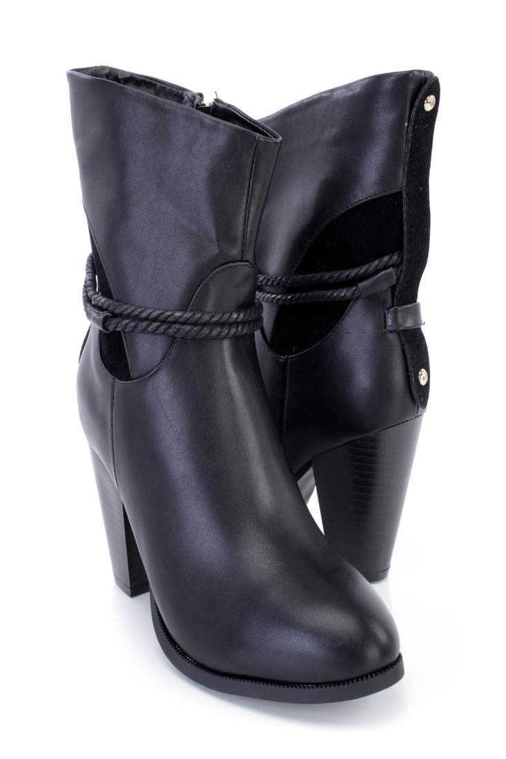 Black Rope Strappy Chunky Heel Booties Faux Leather