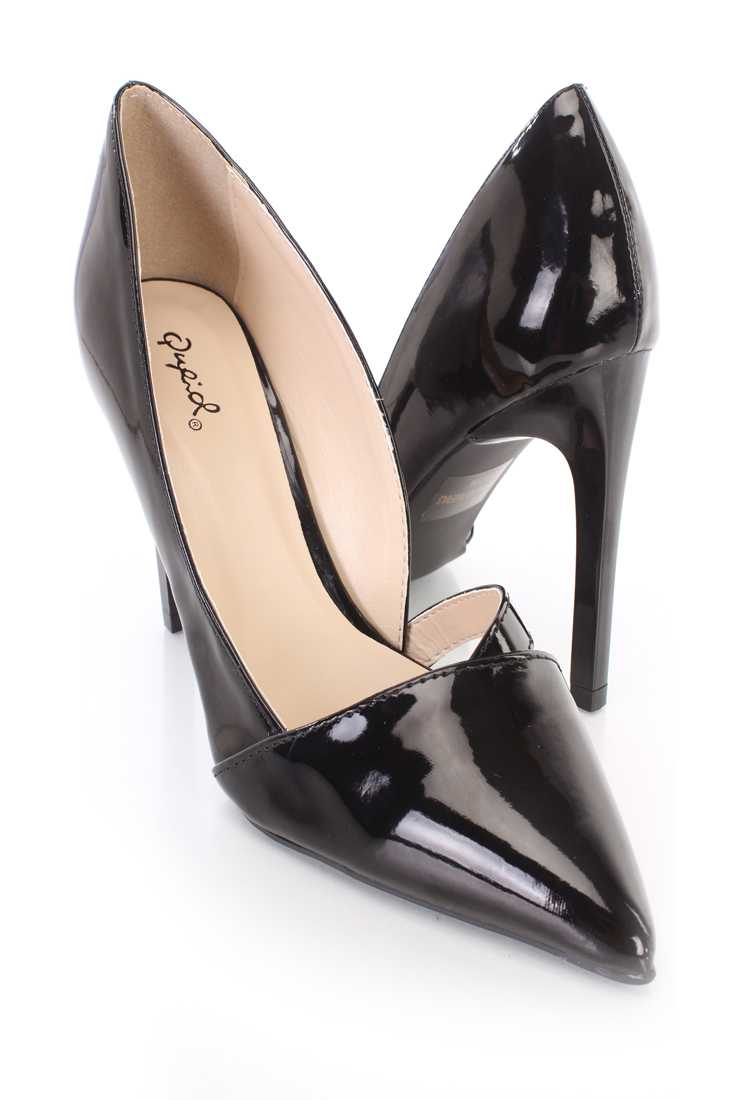Black Strap Cut Out Pointy High Heels Patent Faux Leather