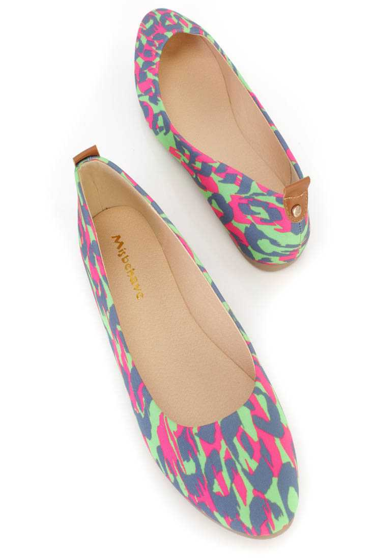 Fuchsia Leopard Graphic Pattern Ballet Flats Canvas