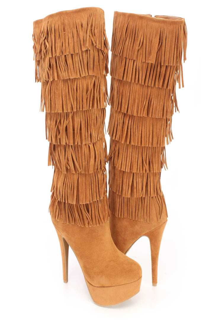 Chestnut Fringe Round Close Toe High Heel Boots Faux Suede