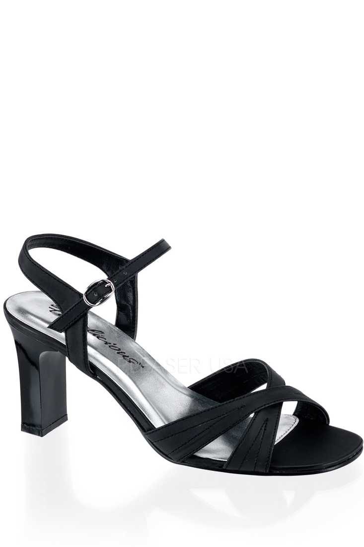 Black Satin Cross Strap Open Toe Sandal High Heels