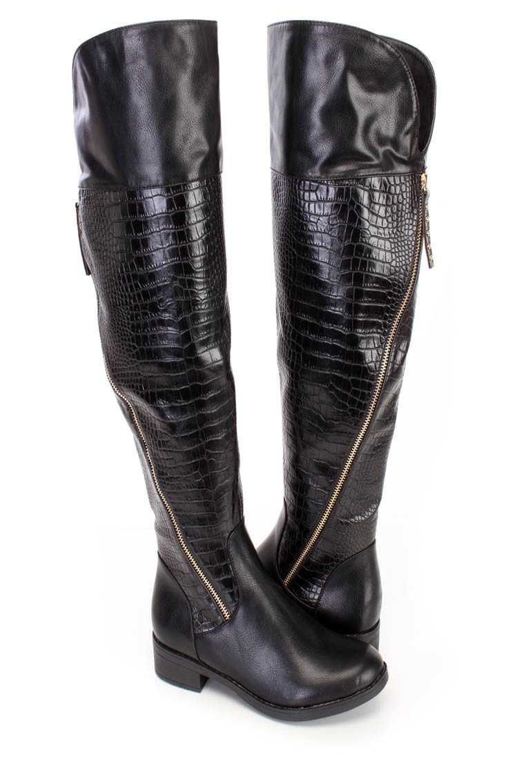 Fall/Winter Black High Thigh Boots Faux Leather