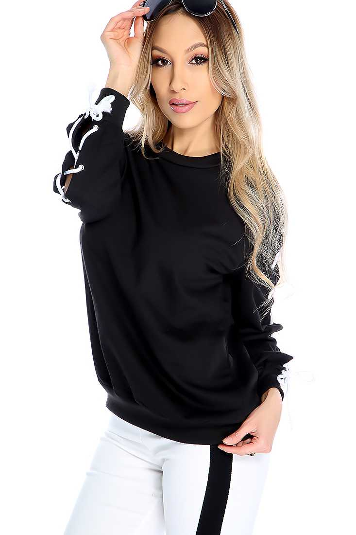 Black Lace up Long Sleeve Casual Sweater
