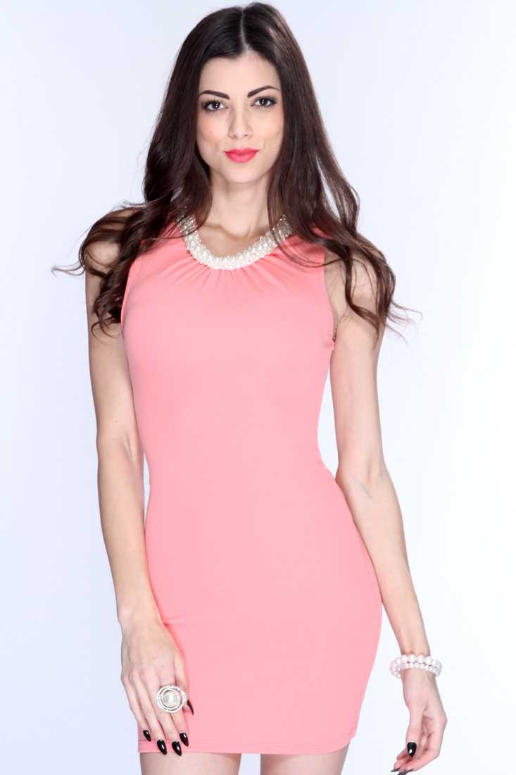 Salmon Faux Pearl Accent Sleeveless Sexy Dress
