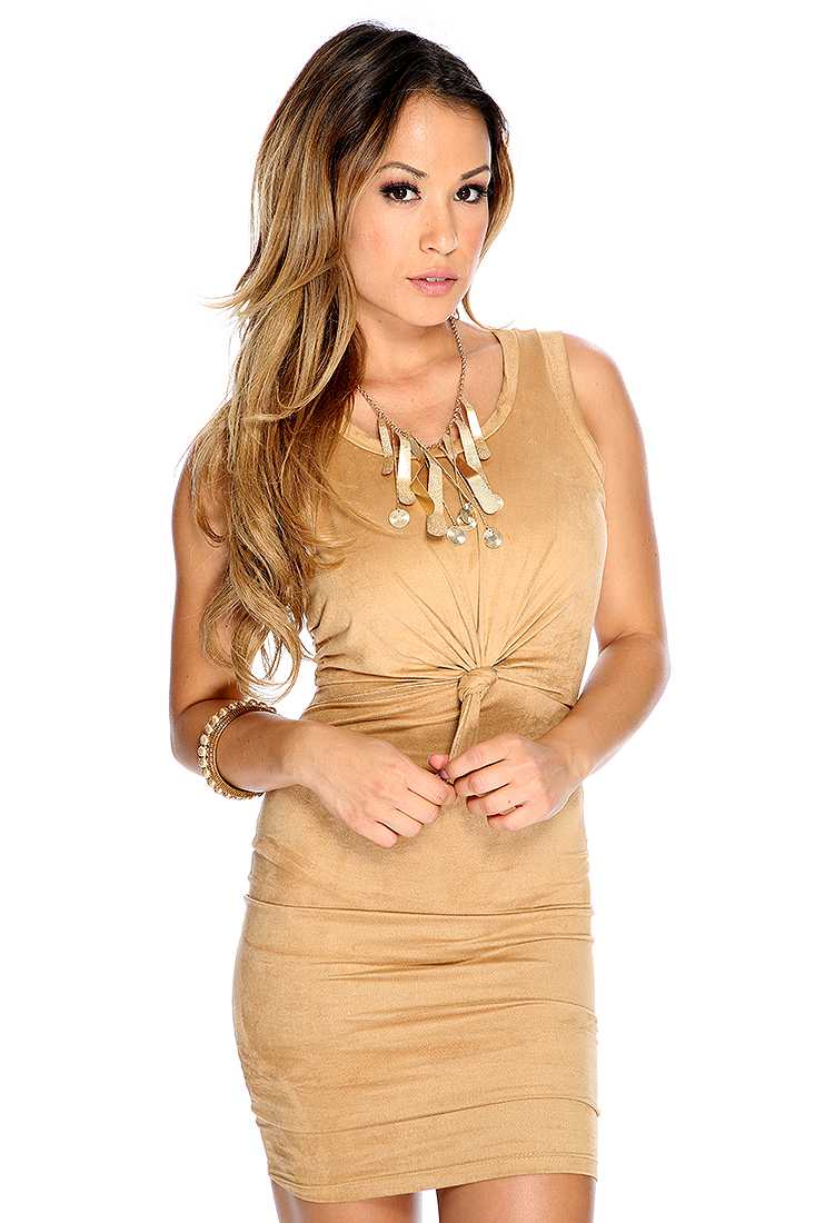 Sexy Light Brown Suede Micro Fiber Knotted Front Design Party Dress