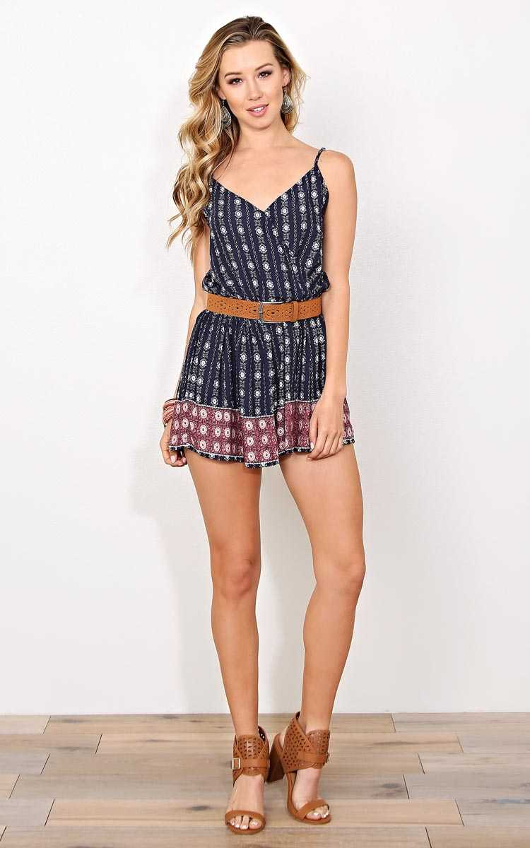 Clara Bohemian Woven Romper - LGE - Navy Combo in Size Large by Styles For Less