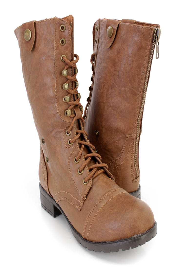 Chestnut Lace Up Combat Boots Faux Leather