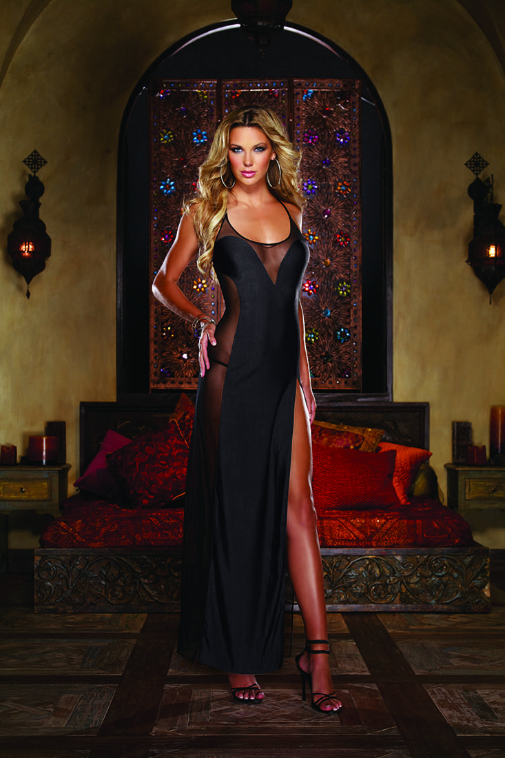 Black Fine Stretch Mesh Gown Lingerie