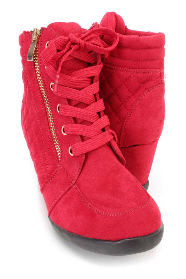 Red Quilted Lace Up Sneaker Wedges Faux Suede