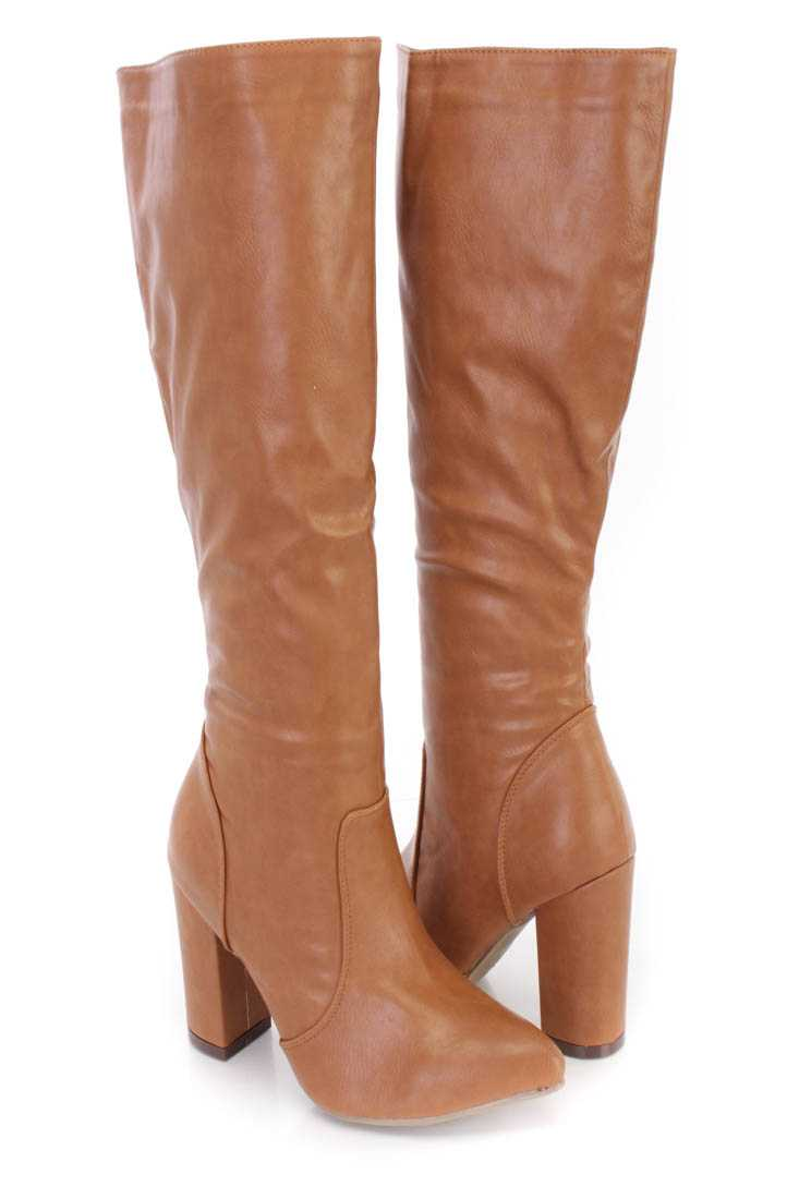 Cognac Chunky High Heel Boots Faux Leather