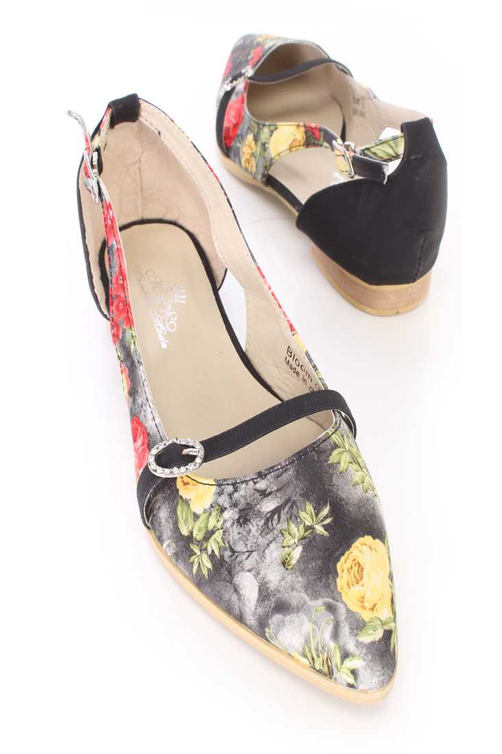 Black Floral Print Cut Out Flats Fabric