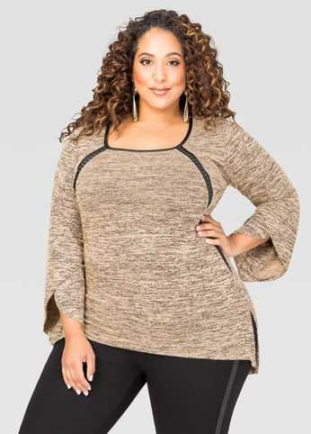 Marled Faux Leather Trim Sweater