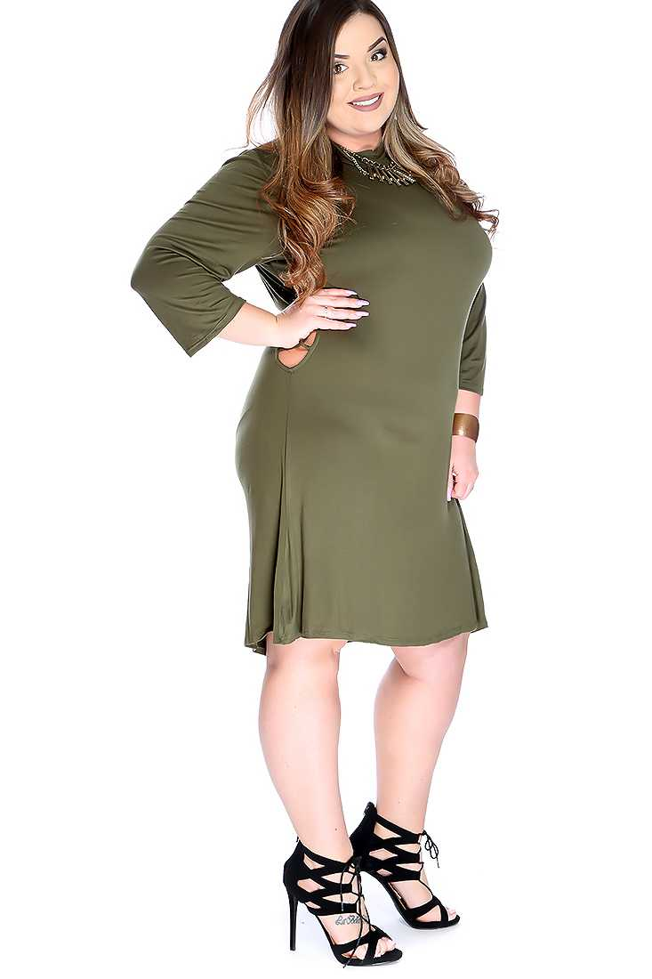 Sexy Olive Cross Cut Out Quarter Sleeve Plus Size Party Dress