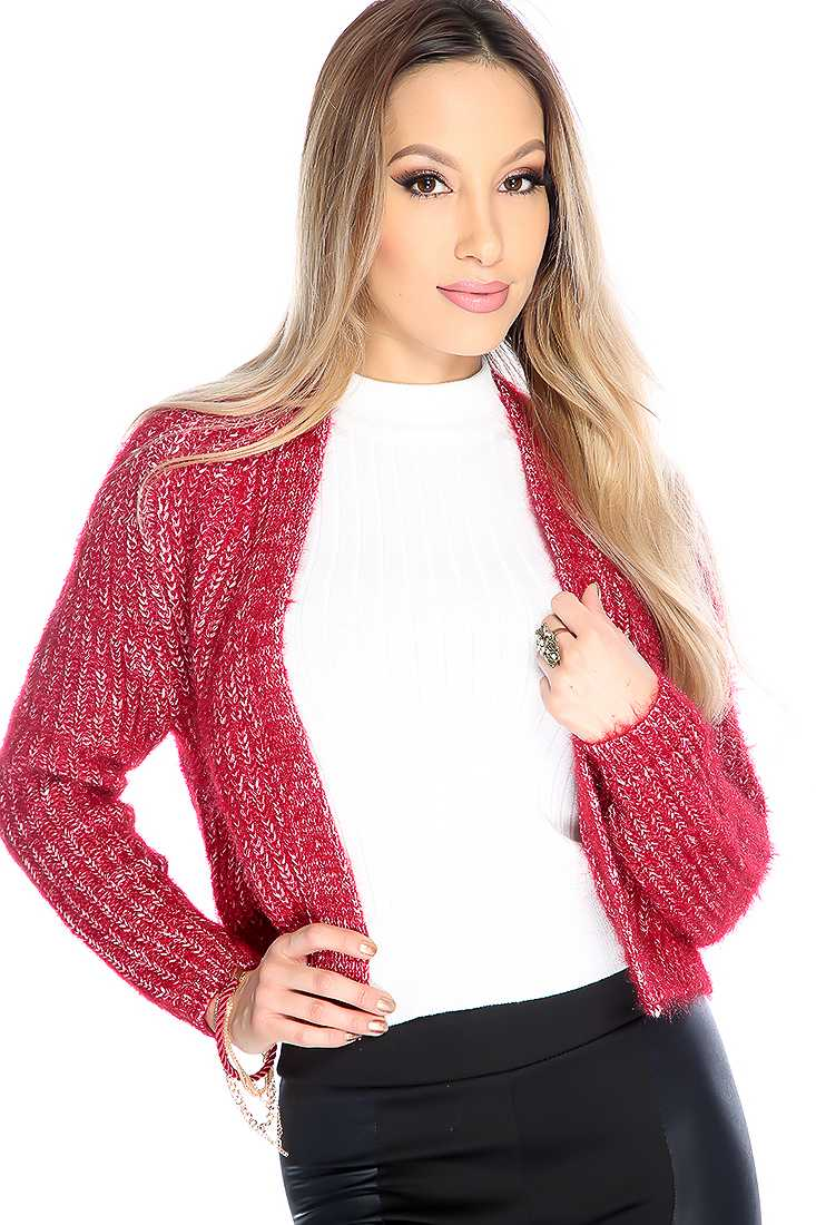 Stylish Burgundy Knitted Long Sleeve Open Front Sweater