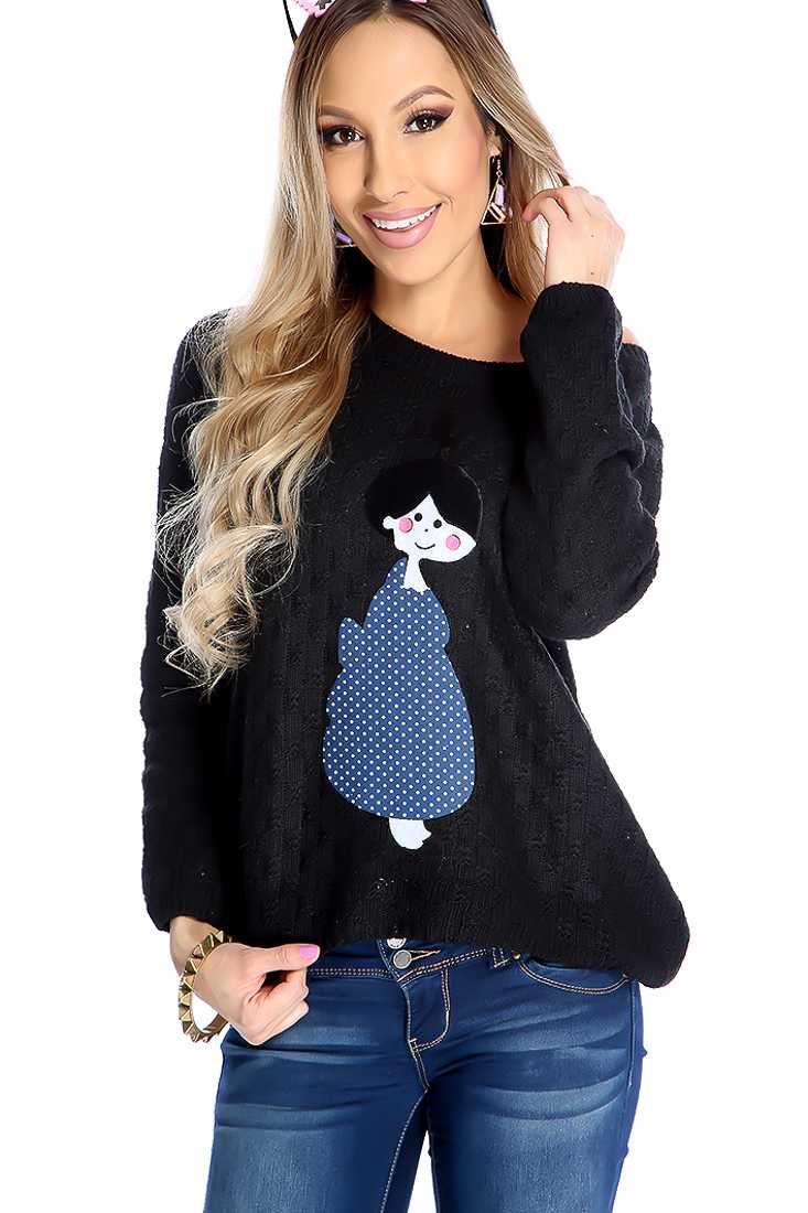 Black Knitted Girl Patch Long Sleeve Sweater Top