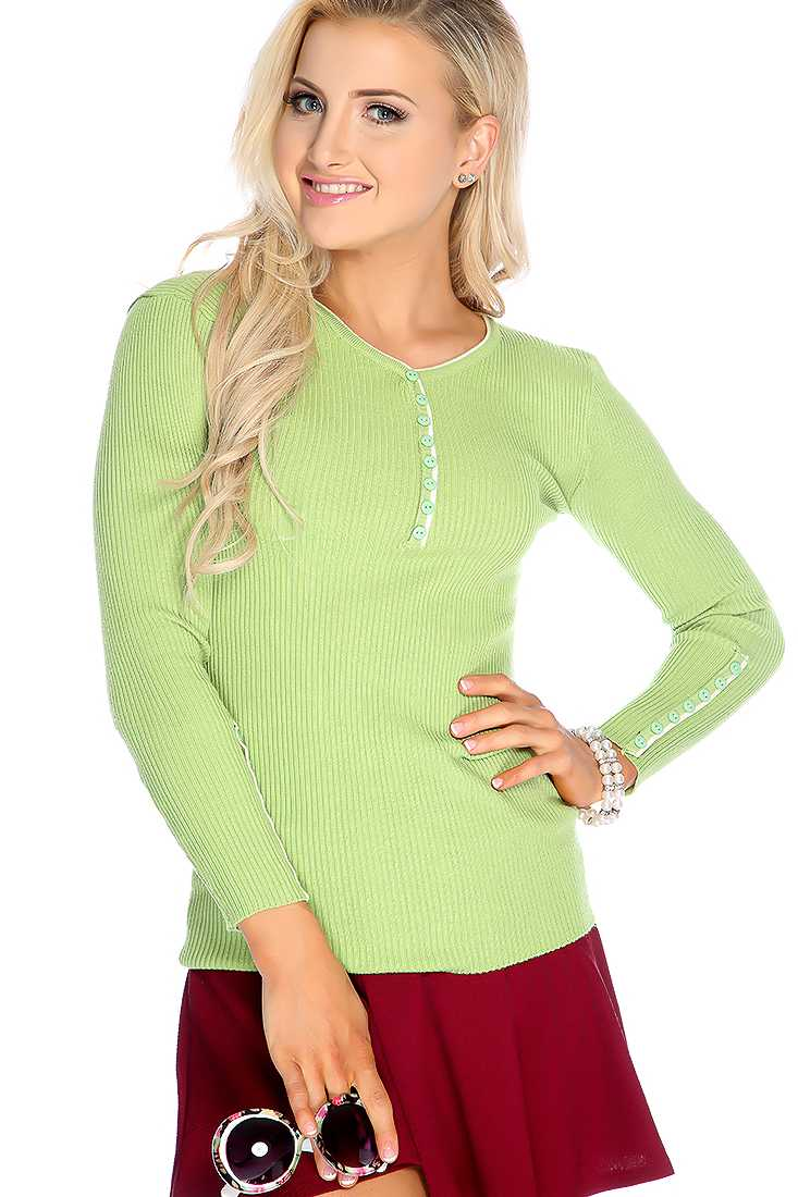 Lime Long Sleeve Ribbed Button Detail Causal Top