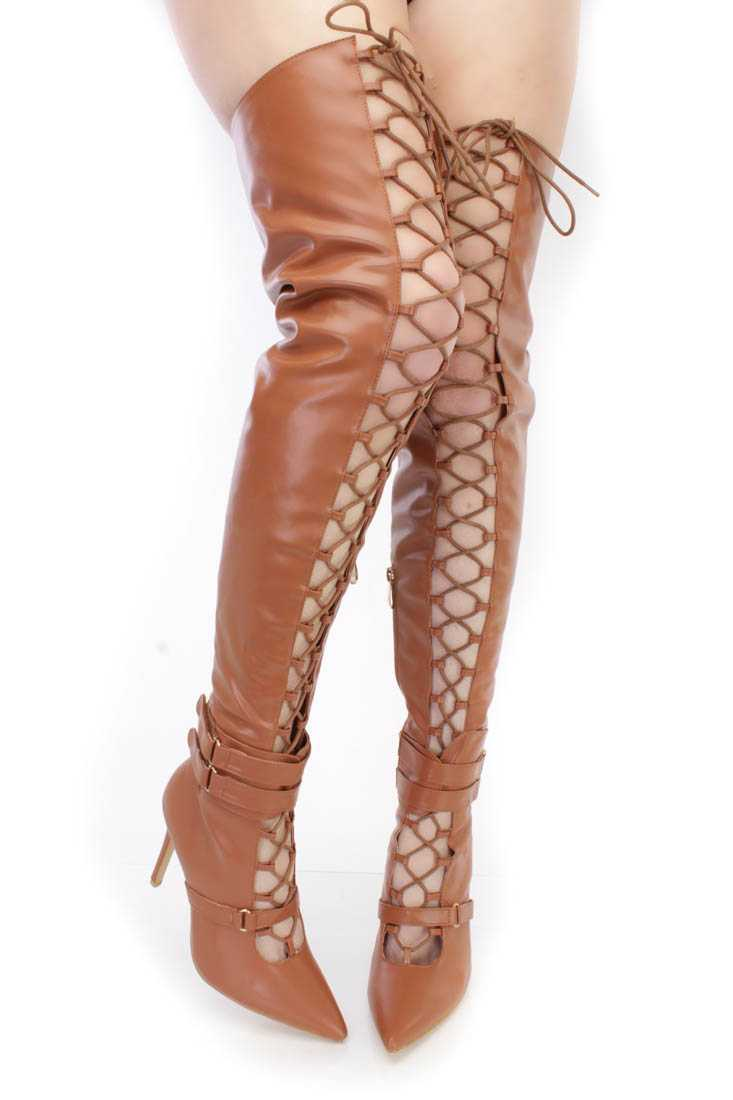 Camel Lace Up Single Sole High Heel Thigh High Boots Faux Leather