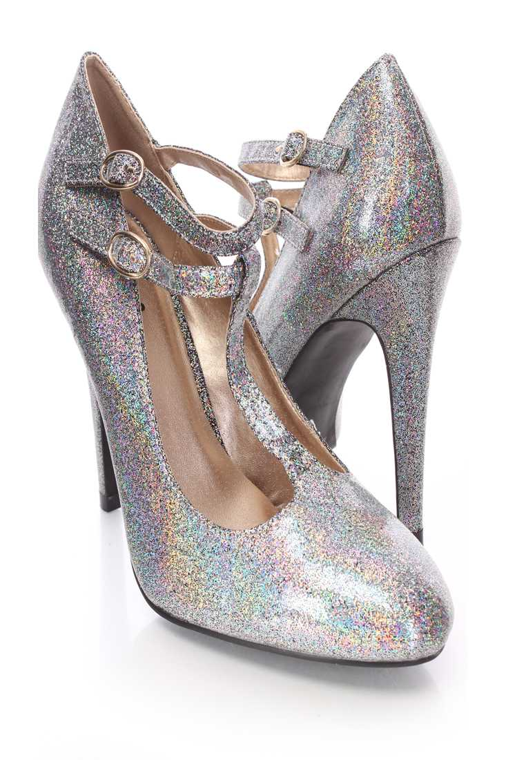 Black T Strappy Single Sole Holographic Heels Faux Leather