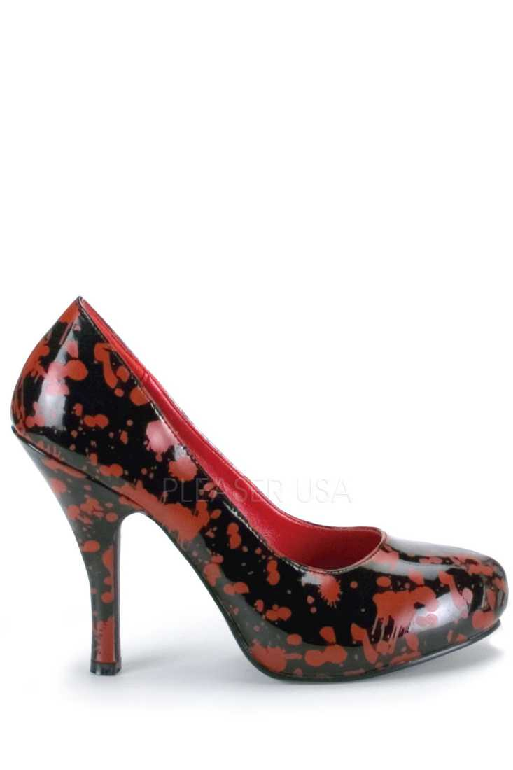 Black Red Blood Splattered Zombie Pump High Heels Patent