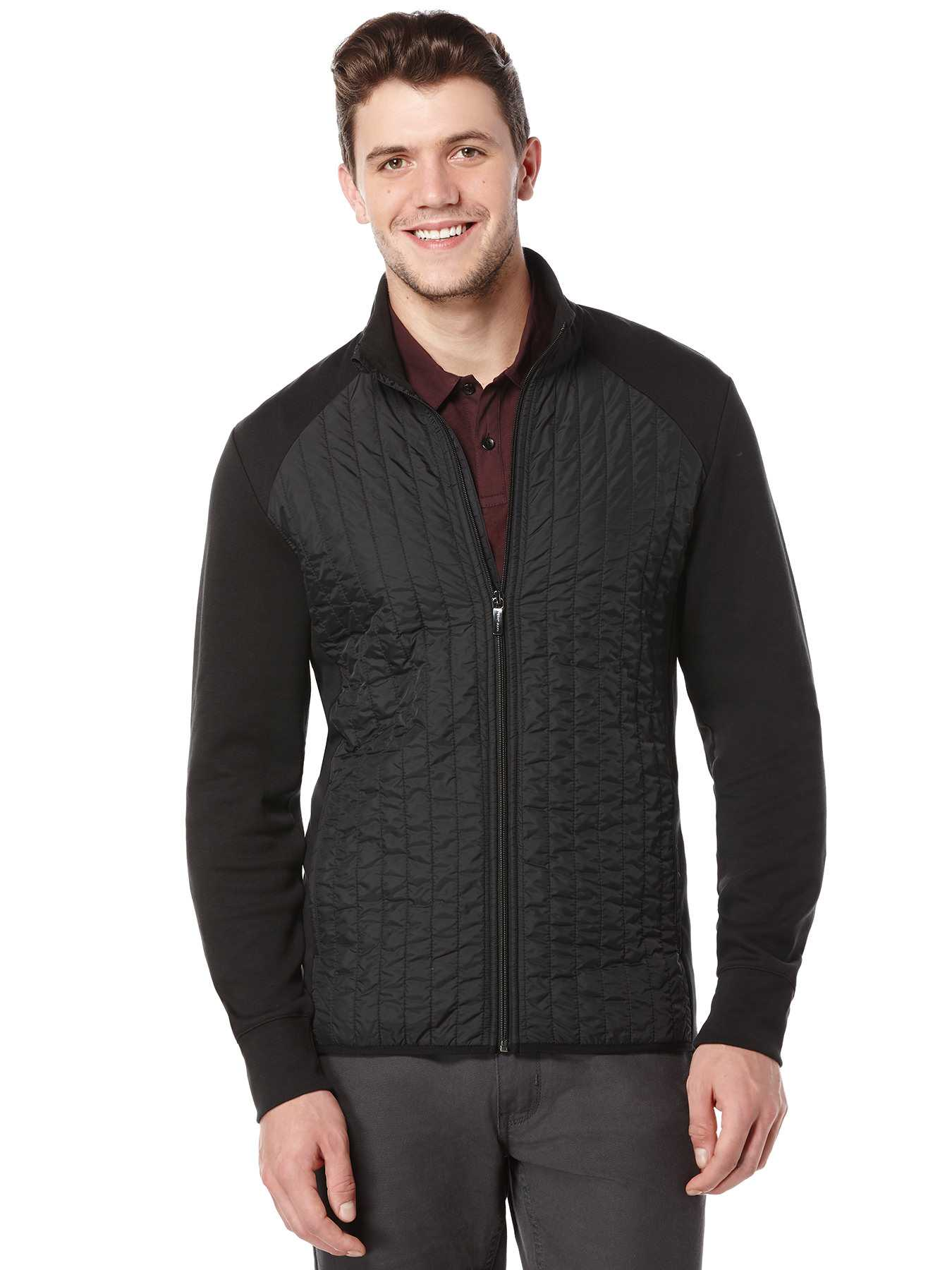 Perry Ellis Long Sleeve Quilted Front Jacket