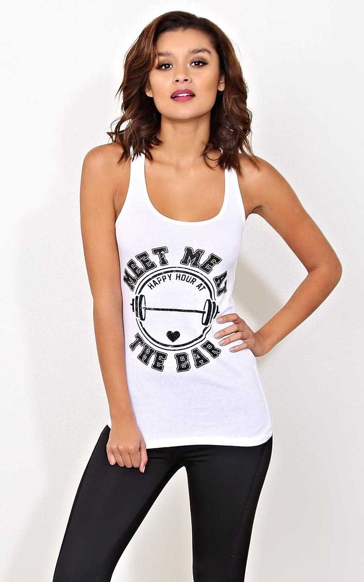 MEET ME AT THE BAR Knit Tank - - White in Size by Styles For Less