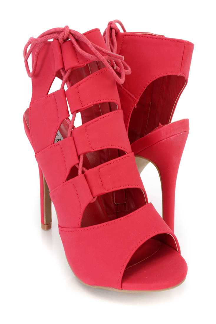 Red Strappy Lace Up Single Sole Heel Booties Nubuck