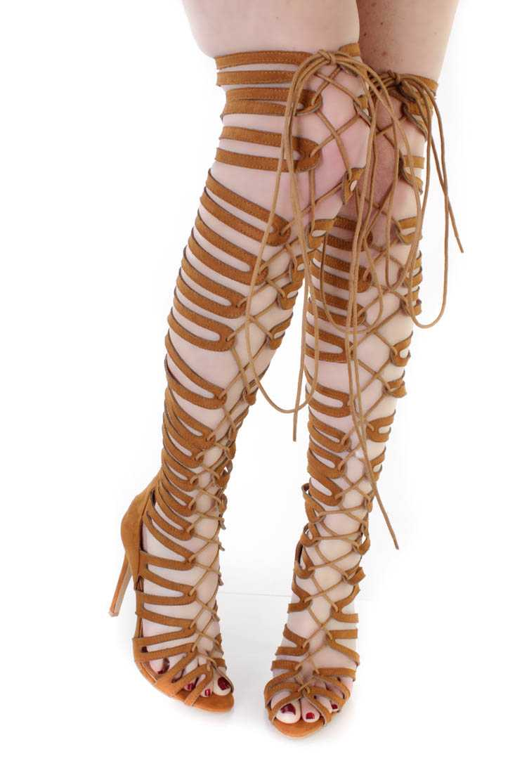 Camel Thigh High Single Sole Gladiator Heels Faux Suede