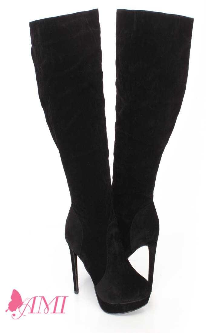 Black Platform High Heel Boots Faux Suede