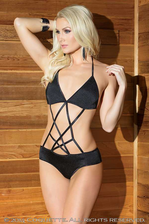 Black Strappy Crotchless Teddy Lingerie